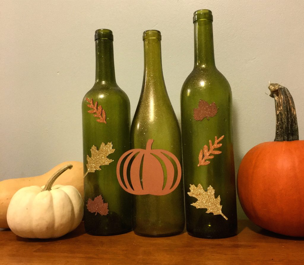 Fall painted wine bottle decorations by Moscato is my Mantra